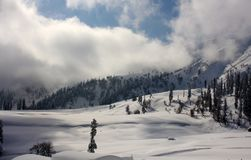 Snow-scape with Mountains and Trees in Kashmir. Snow covered landscape in Gulmarg, Kashmir with mountains, trees, clouds Stock Photos
