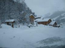 Snow scape. Picturesque mountain village Royalty Free Stock Photos
