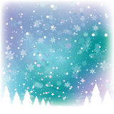 Snow Scene. Pine trees with snow falling Royalty Free Stock Photos