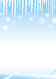 Snow scene. Winter landscape with graphic snowflakes Royalty Free Stock Images