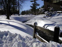 Snow Scene. View of stream in winter snowscape with fence, blue-sky, pine-trees in background Stock Photo