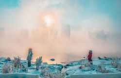 Snow scene Dense fog Rime Songhua River Stock Photo