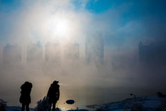 Snow scene Dense fog Rime Songhua River Stock Photography