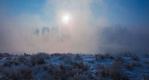 Snow scene Dense fog Rime Songhua River Stock Images