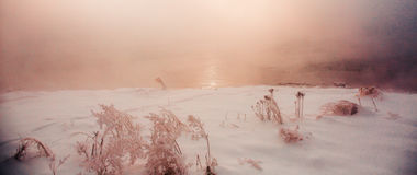 Snow scene Dense fog Rime Songhua River. IT`S A BEAUTIFUL PICTURE Stock Photography