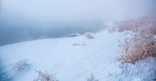 Snow scene Dense fog Rime Songhua River. IT`S A BEAUTIFUL PICTURE Royalty Free Stock Images
