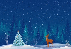 Snow scene. Illustration of a beautiful snowy Christmas forest scene with a deer Royalty Free Stock Photography