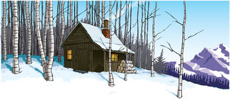 Snow scene with mountain hut retreat. Illustration of a mountain retreat in a snow covered forest, with a warm fire burning in a wooden hut Royalty Free Stock Images