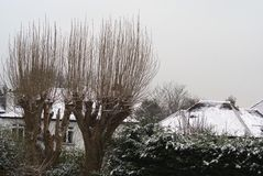Snow scene. outdoor view. snow in England. Outdoor view. urban outdoor view in Winter in England Stock Image