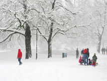 Snow scene in park Stock Photo