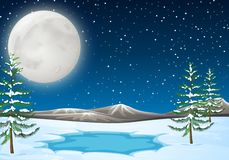 Snow Scene with pond royalty free stock photography