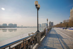 Snow scene Rime Songhua River. IT`S A BEAUTIFUL PICTURE Royalty Free Stock Image