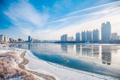 Snow scene Rime Songhua River. IT`S A BEAUTIFUL PICTURE Stock Image