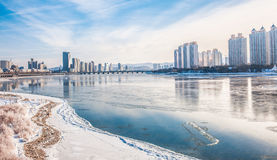 Snow scene Rime Songhua River. IT`S A BEAUTIFUL PICTURE Royalty Free Stock Photography