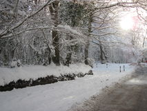 Snow Scene, Winter in UK. Winter in UK, photograph of a snowy day with the sun shining in South Wales royalty free stock images