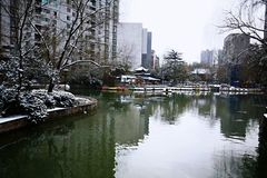 Snow Scenery in Zhengzhou People's Park. Zhengzhou People's Park is located on the west side of North 27th Road in the urban center. It was established royalty free stock images