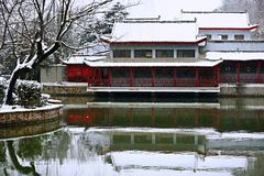 Snow Scenery in Zhengzhou People's Park. Zhengzhou People's Park is located on the west side of North 27th Road in the urban center. It was established royalty free stock image