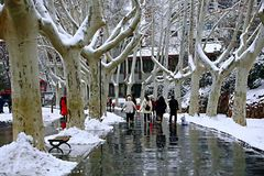 Snow Scenery in Zhengzhou People& x27;s Park. Zhengzhou People& x27;s Park is located on the west side of North 27th Road in the urban center. It was established royalty free stock image