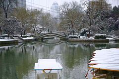 Snow Scenery in Zhengzhou People& x27;s Park. Zhengzhou People& x27;s Park is located on the west side of North 27th Road in the urban center. It was established stock image
