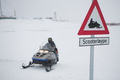 Snow scooter road - Arctic, Spitsbergen Royalty Free Stock Image