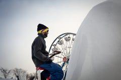 Snow sculpter Stock Image