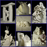 Snow Sculpting Collage Royalty Free Stock Photography