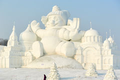 The snow sculpture - Carton castle. The photo was taken in Sun island park Harbin city Heilongjiang province, China Stock Photos