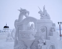 Snow Sculpture Contest to Hyperborea in Petrozavodsk. City in Russia Royalty Free Stock Photos