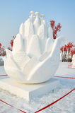 The snow sculpture - flowers Stock Image