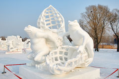 The snow sculpture - The frog Stock Photography