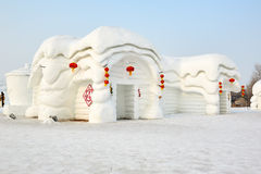 The snow sculpture - houses. The photo was taken in Sun island park Harbin city Heilongjiang province, China Stock Photo