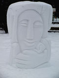 Snow sculpture. Large handmade snow sculpture in the park Stock Images