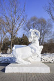 Snow Sculpture of an ox at Jingyuetan National Forest Park in Changchun, China Stock Photos