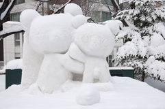 Snow sculpture of a pair of bears at Sapporo Snow Festival 2013 Stock Photography