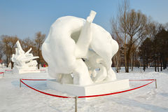 The snow sculpture - rebirth Royalty Free Stock Images