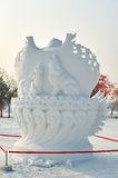 The snow sculpture - wolf pattern stock images