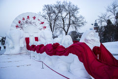 Snow Sculptures at the Harbin Ice and Snow Festival in Harbin China. Some beautiful snow sculptures in Harbin China for the 2013 Harbin Snow and Ice Festival Stock Image