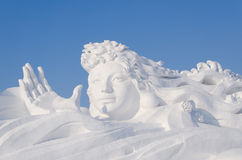 Snow Sculptures at the Harbin Ice and Snow Festival in Harbin China Stock Photos