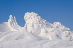 Snow Sculptures at the Harbin Ice and Snow Festival in Harbin China Royalty Free Stock Photo