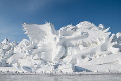 Free Snow Sculptures- Harbin Snow Sculptures 2018 Life Like Snow Carvings In Fine Detail Stock Photo - 109351950