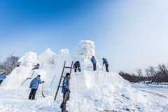 Snow Sculptures at the the 27th Harbin Ice and Snow Festival Royalty Free Stock Images