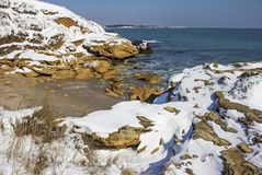 Snow on the sea stock photography