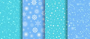 Snow seamless patterns set. Winter repeat texture. snowflakes background collection. blizzard template wallpaper. Can vector illustration