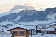 Snow season in Alpes. Morning hours in Thiersee Stock Photography
