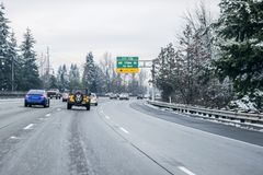 Snow on Seattle area residential streets-15 royalty free stock images