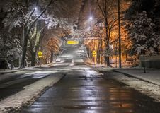 Snow on Seattle area residential streets-17 royalty free stock photo