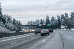 Snow on Seattle area residential streets-13 stock images