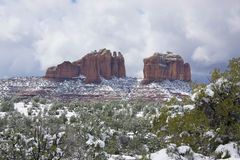 Snow in Sedona, AZ. Snow covered landscape with red rock formations after snow storm in Sedona, AZ Stock Image