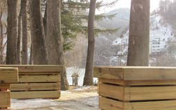 Snow See auf Wintersaison in nami Insel lizenzfreie stockfotos