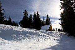 Snow shelter. In the bulgarian mountain Stock Photo